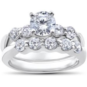 White Gold 2 1/4ct TDW Diamond Clarity Enhanced Wedding Engagement Ring Set - Custom Made By Yaffie™