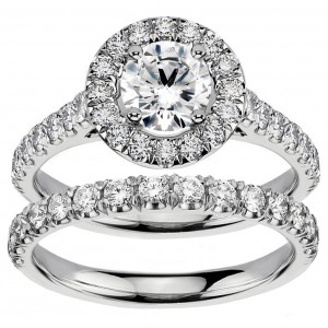 White Gold 2 1/4ct TDW Diamond Engagement Bridal Set - Custom Made By Yaffie™