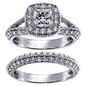 White Gold 2 2/5ct TDW Princess-cut Diamond Halo Bridal Ring Set - Custom Made By Yaffie™