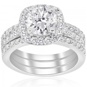 White Gold 2 3/4 ct TDW Cushion Halo Diamond Engagement Clarity Enhanced Trio Wedding Ring Set - Custom Made By Yaffie™