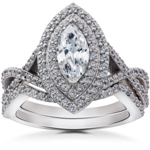 White Gold 2 3/8ct TDW Marquise Enhanced Diamond Engagement Double Halo Matching Wedding Ring Set - Custom Made By Yaffie™