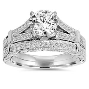 White Gold 2 ct TDW Clarity Enhanced Diamond Vintage Engagement Wedding Ring Set - Custom Made By Yaffie™