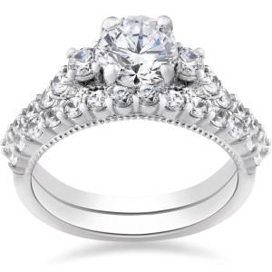 White Gold 2 ct TDW Diamond Clarity Enhanced Vintage Engagement Wedding Ring Set - Custom Made By Yaffie™