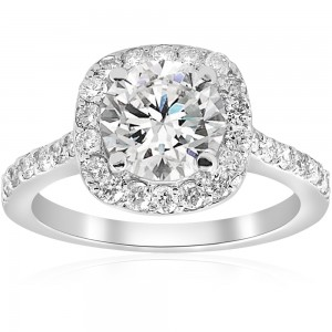 White Gold 2 ct TDW Diamond Cushion Halo Clarity Enhanced Engagement Ring - Custom Made By Yaffie™