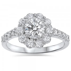 White Gold 2 ct TDW Diamond Floral Halo Engagement Ring - Custom Made By Yaffie™