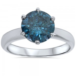 White Gold 2.00ct TW Blue Enhanced Diamond Solitaire Engagement Ring - Custom Made By Yaffie™