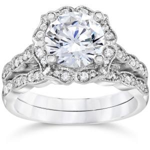 White Gold 2ct TDW Diamond Clarity Enhanced Halo Engagement Wedding 2-piece Ring Set - Custom Made By Yaffie™