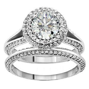 White Gold 2ct TDW Diamond Double Halo Bridal Ring Set - Custom Made By Yaffie™