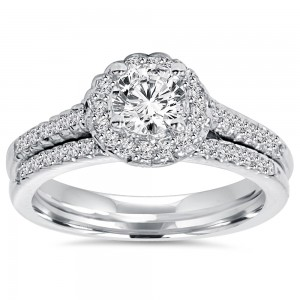 White Gold 3/4 ct TDW Diamond Halo Engagement and Matching Wedding Ring Set - Custom Made By Yaffie™