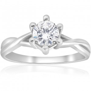White Gold 3/4 ct TDW Solitaire Diamond Engagement Ring Interwoven Polished Setting - Custom Made By Yaffie™