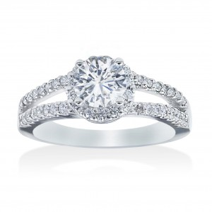 White Gold 3/4ct TDW Diamond Halo Engagement Ring - Custom Made By Yaffie™