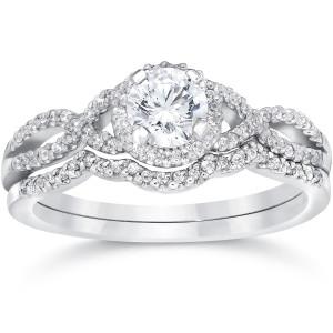 White Gold 3/4ct TDW Diamond Infinity Halo Engagement Wedding Ring Set - Custom Made By Yaffie™