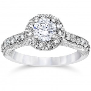 White Gold 3/4ct TDW Halo Round Diamond Vintage Engagement Ring - Custom Made By Yaffie™