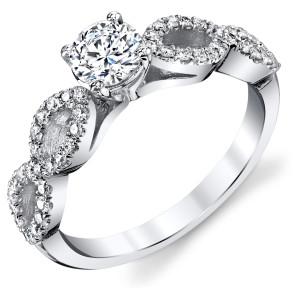 White Gold 3/4ct TDW Round Diamond Infinity Engagement Ring - Custom Made By Yaffie™