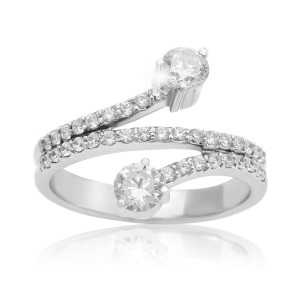 White Gold 3/4ct TDW Two Diamond Plus Ring - Custom Made By Yaffie™