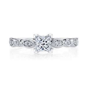 White Gold 3/4ct TDW Vintage Diamond Engagement Ring - Custom Made By Yaffie™