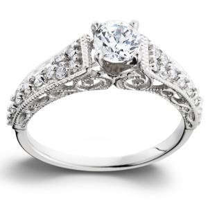 White Gold 3/5TDW Vintage Diamond Engagement Ring - Custom Made By Yaffie™