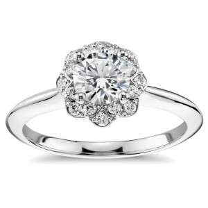 White Gold 3/5ct TDW Floral Halo Round Diamond Engagement Ring - Custom Made By Yaffie™