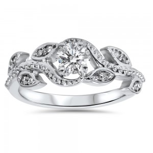 White Gold 3/8ct TDW Vine Petal Vintage Style Diamond Engagement Ring - Custom Made By Yaffie™