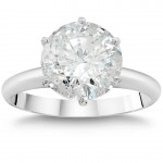 White Gold 3ct TDW Clarity Enhanced Round Diamond Solitaire Engagement Ring - Custom Made By Yaffie™