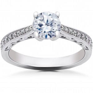 White Gold 5/8 ct Eco Friendly Lab Grown Diamond Vintage Engagement Ring - Custom Made By Yaffie™