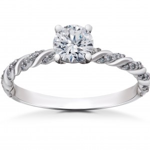 White Gold 5/8 ct Lab Grown Round Eco Friendly Diamond Engagement Ring - Custom Made By Yaffie™
