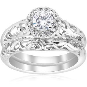 White Gold 5/8ct TDW Diamond Halo Engagement Ring Matching Wedding Band Vintage Filigree Set - Custom Made By Yaffie™