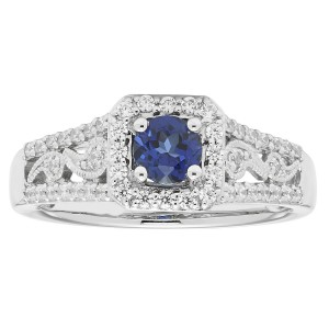White Gold 5/8ct TDW Diamond and Sapphire Engagement Ring - Custom Made By Yaffie™