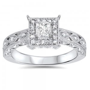 White Gold 5/8ct TDW Halo Vintage Princess-cut Diamond Engagement Ring - Custom Made By Yaffie™