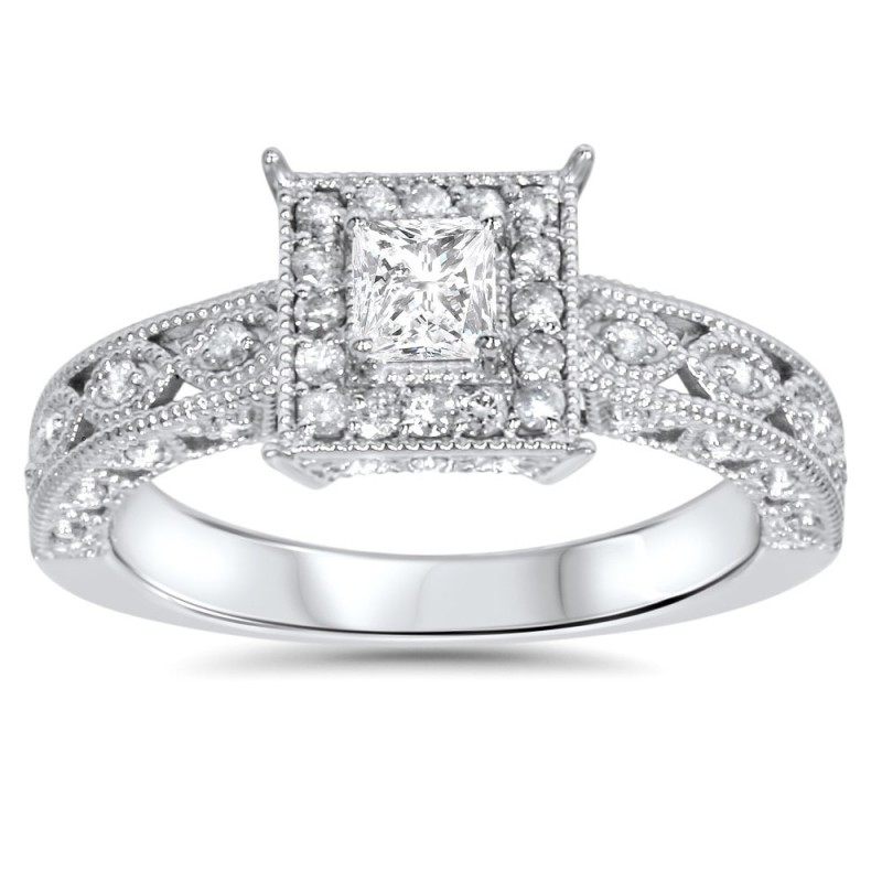 White Gold 5 8ct Tdw Halo Vintage Princess Cut Diamond Engagement Ring Custom Made By Yaffie