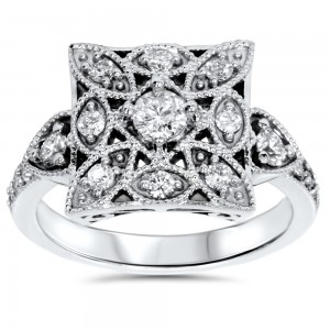 White Gold 5/8ct TDW Vintage Diamond Anniversary Ring - Custom Made By Yaffie™