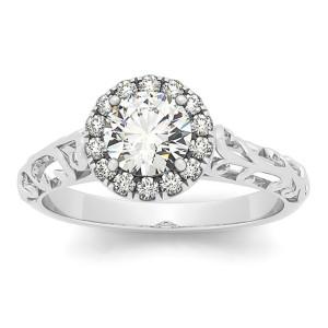 White Gold 5/8ct TDW Vintage-style Diamond Filigree Engagement Ring - Custom Made By Yaffie™