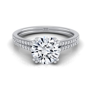 White Gold 5/8ctw TDW White Diamond 2 Row Double Prong Cathedral Engagement Ring - Custom Made By Yaffie™