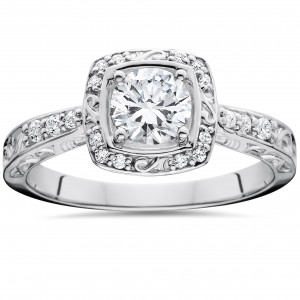 White Gold 7/8 ct TDW Sculptural Diamond Engagement Ring - Custom Made By Yaffie™