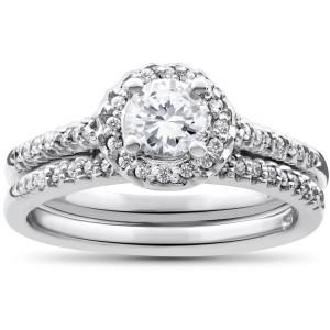 White Gold 7/8ct Round Halo Diamond Engagement Matching Wedding Ring Set - Custom Made By Yaffie™