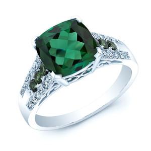 White Gold Created Emerald 1/4ct TDW Diamond Ring - Custom Made By Yaffie™
