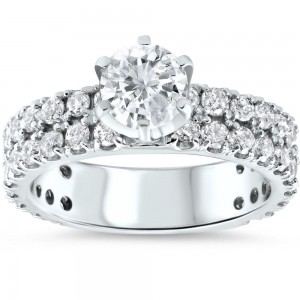 White Gold Gold 2 3/8ct Diamond Clarity Enhanced Pave Double Row Engagement Ring - Custom Made By Yaffie™