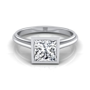 White Gold IGI-certified 1ct TDW Princess-cut Diamond Bezel Solitaire Engagement Ring - Custom Made By Yaffie™