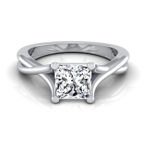 White Gold IGI-certified 1ct TDW Princess-cut Diamond Solitaire Engagement Ring - Custom Made By Yaffie™
