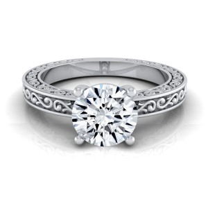 White Gold IGI-certified 1ct TDW Round Diamond Solitaire Engagement Ring with Scroll Detail Shank - Custom Made By Yaffie™