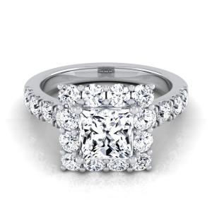 White Gold IGI-certified 2 1/10ct TDW Princess-cut Diamond Halo Engagement Ring - Custom Made By Yaffie™