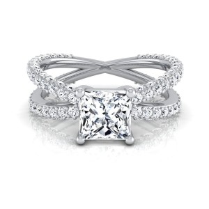White Gold IGI-certified 2 1/4ct TDW Princess-cut Diamond Engagement Ring - Custom Made By Yaffie™