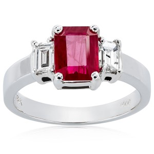 White Gold Ruby/Diamond High-polish Ring - Custom Made By Yaffie™