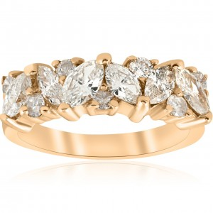 Gold 1 1/2 ct TDW Marquise Diamond Wedding Anniversary Ring - Custom Made By Yaffie™