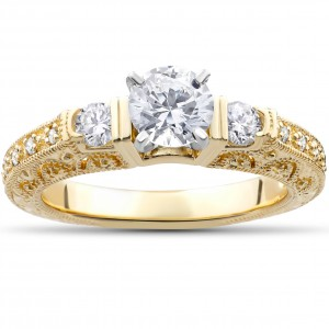 Gold 1 1/3ct TDW Eco-Friendly Lab Grown Vintage Filigree Diamond Engagement Ring - Custom Made By Yaffie™