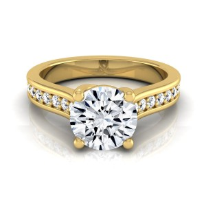 Gold 1 1/3ct TDW Round Diamond Solitaire Engagement Ring - Custom Made By Yaffie™