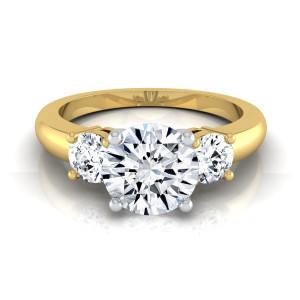 Gold 1 1/4ct TDW Round Diamond 3-Stone Engagement Ring - Custom Made By Yaffie™