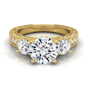 Gold 1 7/8ct TDW Round 3-Stone Engagement Ring - Custom Made By Yaffie™