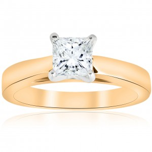 Gold 1ct TDW Princess Cut Solitaire Diamond Clarity Enhanced Engagement Ring Cathedral - Custom Made By Yaffie™