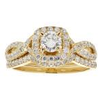 Gold 1ct TDW White Diamond Bridal Set - Custom Made By Yaffie™